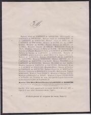 *1871 Faire-part décès Abbé Marie-Bernard-Théodore de LARTIGUE de GOUEYTES