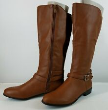 Style & Co Women's Brown Vegan Leather Round Toe Knee High Riding Boots 6 W Calf