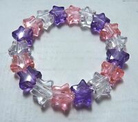 Girls Princess Pink Purple & Clear Plastic Star Bead Elastic Bracelet New