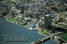 Aerial View of Downtown Toledo Ohio, Bridge, Great Lakes, Park, OH --- Postcard