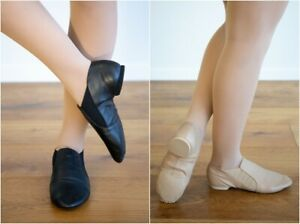 SLIP ON JAZZ SHOES - NEW Split Sole Booties BLACK or TAN  Size US6.5 = 24.7cms