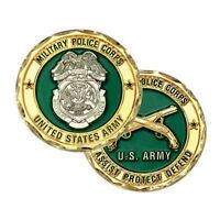 """ARMY MILITARY POLICE CORPS ASSIST PROTECT DEFEND 1.75"""" CHALLENGE COIN"""