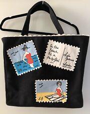 Lulu Guinness Postcard Embellished Canvas Tote Handbag ~ Black ~ EUC