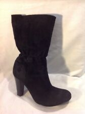 Pied A Terre Black Mid Calf Suede Boots Size 39
