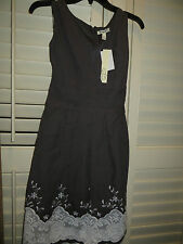 NEW Corey P Gray Empire Waist V-Neck Knee-Length Dress Embroidered Womens 12