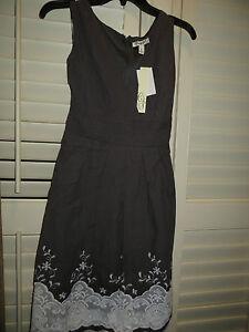 NEW Corey P Gray Empire Waist V-Neck Knee-Length Dress Embroidered Womens 12