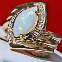 handmade 14k yellow gold 1.40ct Australian fiery opal & diamond ring 5.9g size 7