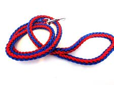 STRONG DOG LEAD PLAITED NYLON ROPE LEASH 110 CM LONG TRIGGER CLIP RED/BLUE