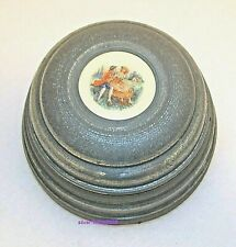 Victorian Vintage Powder or Trinket Box with Music Porcelain Aluminum & Wood