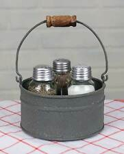 Farmhouse/Cottage/Primitive Round Bucket Salt Pepper and Toothpick Caddy