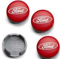 Rot Ford 4 x 54mm Alufelge Nabenkappen Nabendeckel Satz