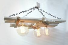 Aged wood ceiling lamp, wooden chandelier, vintage edison bulbs, lighting, lamp