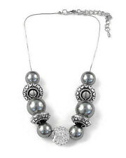 Silver Tone Fashion Necklace with ChunkyDark Grey & Silver Beads and Crystals