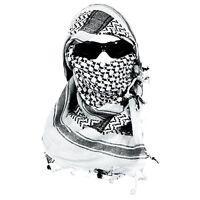 "White & Black Lightweight Shemagh Arab Tactical Desert Keffiyeh Scarf 42"" x 42"""