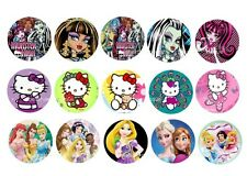 "1"" 30 Precut Mix of Monster High,Disney Princess & Hello Kitty bottle cap Image"