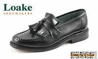 Loake Brighton Tassel Loafer Leather Shoes Oxblood Burgundy Black Mod British
