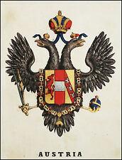 AUSTRIA:Stemma Araldico-F.Pagnoni 1863.Originale Lithografia Colori.Passepartout