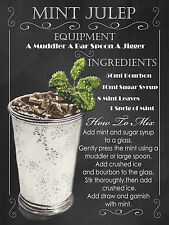 Mint Julep cocktail Recipe, Retro metal Plaque, Pub Bar Kitchen Shabby Chic Gift