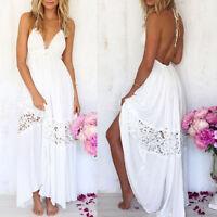 Boho Women Long Dress Backless Halter V Neck Maxi Beach Bohemia Dresses Sundress