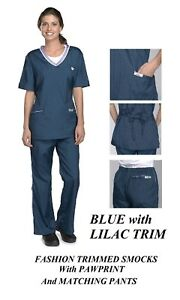 BLUE Fashion Trim SMOCK/PANT GROOMER Grooming Hair,Water&Stain Resistant Shirt