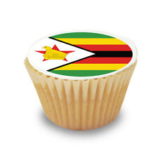 12 x Zimbabwe / Zimbabwean Flag Pre Cut Cupcake Toppers Sugar Icing Sheet