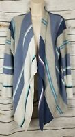 J Jill Blue Striped Sweater Cardigan Open Draped Cotton Blend M