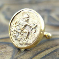 Handmade Brushed Round Coin Ring 24K Gold Over Sterling Silver