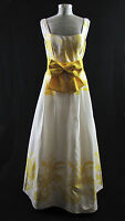 Dress Formal - Women's Vintage Yellow and White Sleeveless Long Gown Size 8