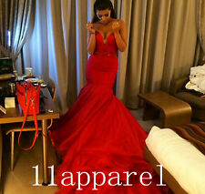 Hot Sale Evening Dresses Sweetheart Red Mermaid Long Train Wedding Formal Gown