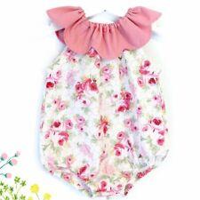 Newborn Baby Girls Pink flower Romper Bodysuit Jumpsuit Outfit Playsuit Sunsuit