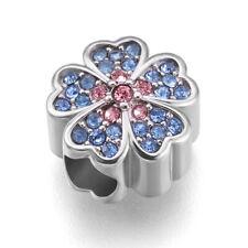Stainless Steel Cherry Blossom Flower European Beads For Charm Bracelets