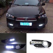 For Mitsubishi Lancer 2008-2012 2x White LED DRL Daytime Fog Light Run lamp