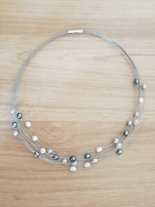 Honora Freshwater cultured pearl floating white/grey/black pearls necklace,...