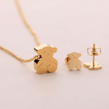 Woman Girl Bear Pendant Crystal Chain Necklace Earrings Jewelry Set