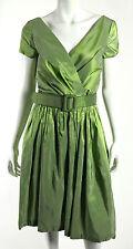 KEVAN HALL $1,650 NWT Iridescent Green Shot Silk Belted Pleated Dress 10