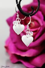 Glass Jewels Silber Ohrringe Glas Herz Weiß Perlen Valentinstag Geschenk #L096