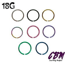 18g Seamless Nose Hoops Tragus Cartilage Piercing Endless 1/4 5/16 3/8