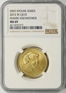 2015-W Mamie Eisenhower First Spouse Series Gold $10 NGC MS69