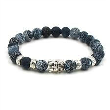 Fashion 8mm Natural Serpentine Silver Buddha Head Handmade Beaded Bracelets