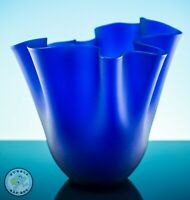 BLUE FROSTED GLASS HANDKERCHIEF VASE ACID ETCHED