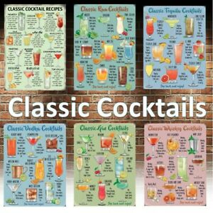 Classic Cocktail Recipe man cave sign pub Wall Metal Plaque rum vodka ginTequila