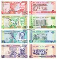 Gambia 5 + 10 + 25 + 50 Dalasis 2006-2013 Set of 4 Banknotes 4 PCS UNC