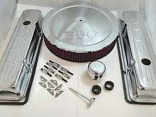 SB Chevy SBC Chrome 350 Stamped Logo Engine Dress Up Kit W/ Short Valve Covers
