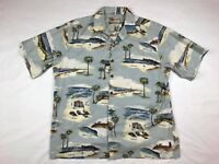 Hilo Hattie Mens XL Aloha Hawaiian Shirt Island Palm Tree Print Made in Hawaii