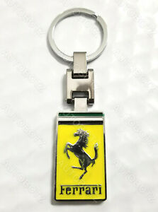 For FERRARI Metal Chrome Emblem Style Keychain Key Fob Ring