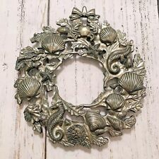 VTG Silver Tone Metal Ocean Sea Themed Seashell Wreath Hanging Decor Holiday