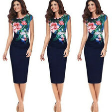 UK Elegant Womens Office Lady Formal Business Work Party Floral Pencil Dress