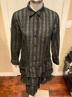 Theory Black Plaid Drop-Waist Shirt Dress, Size 8