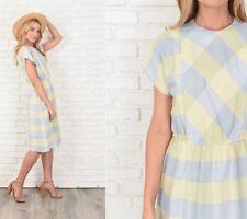 Vintage 70s 80s Yellow + Blue Dress Geometric Print Plaid Slouchy Draped Small S