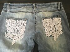 BNWT Dolce & Gabbana White Lace Floral Pockets Light Blue Denim Jeans IT42 £485